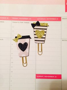 Classic Audrey Coffee Cup Planner Clips