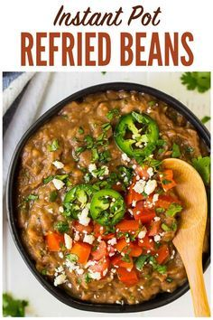 How to make the BEST Instant Pot Refried Beans! Easy no soak recipe. Healthy, vegan, and perfect for all of your favorite Mexican dishes! One of the best pressure cooking recipes. wellplated instantpot refriedbeans pressurecooking via 550002173240958932 Mexican Dishes, Mexican Food Recipes, Whole Food Recipes, Healthy Recipes, Healthy Dishes, Easy Recipes, Easy Meals, Easy Cooking, Healthy Cooking