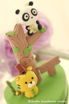 Panda & Tiger with bamboo Wedding Cake Topper by charles fukuyama, via Flickr