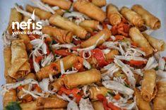 Çıtır Yufkalı Tavuklu Salata (Nefis Gün Salatası) - Nefis Yemek Tarifleri Kung Pao Chicken, Pasta, Meat, Ethnic Recipes, Pasta Recipes, Pasta Dishes