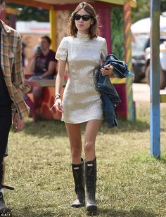 Laura Whitmore and Alexa Chung hit Glastonbury in mini-dresses #dailymail