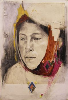 Jo Fraser, Peruvian Weaver With Embroidery, 2012 Graphite, Conté, Oils, Embroidery and Collage on Antique Paper