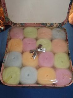 Vintage Parfait Brand - Multi Color Powder Puffs in Sealed Cloth Box