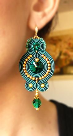 Soutache Earrings Handmade Earrings Hand Embroidered by LaviBijoux Soutache Earrings, Chandelier Earrings, Beaded Earrings, Statement Earrings, Earrings Handmade, Beaded Jewelry, Handmade Jewelry, Jewelry Accessories, Jewelry Design