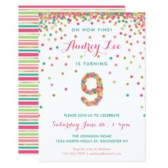 Shop Girls Birthday Invitation birthday party created by colleenmichele. Personalize it with photos & text or purchase as is! Birthday Party Invitation Wording, Party Invitations Kids, Engagement Party Invitations, Graduation Invitations, Zazzle Invitations, Invites, Girls 9th Birthday, 9th Birthday Parties, Summer Birthday