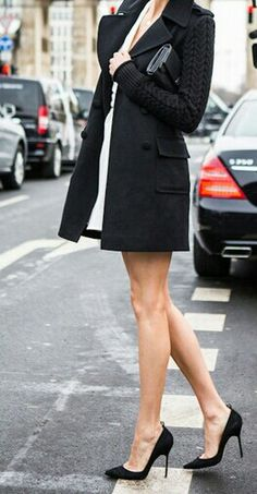 classic and chic - black coat street style with high heel black pumps - classic and timeless style!