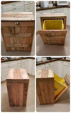 Pallet Kitchen Trash Can Holder - 101 Pallet Ideas