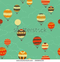 hand drawn retro air balloons seamless pattern, colorful vector illustration, ready to use design for different surfaces, fabric, home decor, paper, party invitations, covers, etc - stock vector