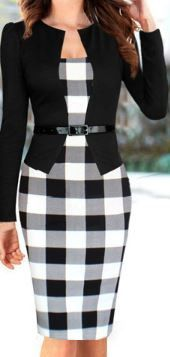 Women Long Sleeve Checkerboard Dress