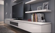 Floating tv cabinet in white poly with fingerpull doors