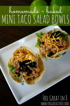 These cute, healthy little Taco Salad Bowls are quick and easy to make! You just need a few simple ingredients, a cupcake pan and an oven. #healthy #quick #easy