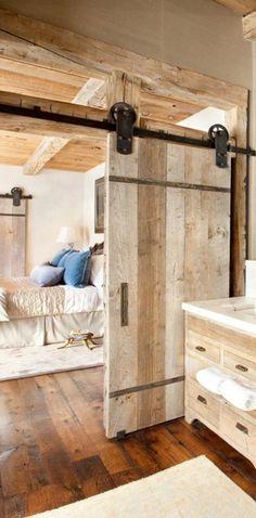Incredible Rustic Farmhouse Master Bedroom Design & Decor Ideas - Page 21 of 45 Doors Interior, Rustic Doors Interior, Door Design, Home, Farmhouse Staircase, Sliding Doors, Bedroom Design, Doors, Rustic Bedroom
