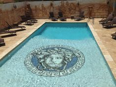Swimming pool mosaics are available in a range of types, and shapes. Check out the three major types of swimming pool tiles, their benefits, and features. Swimming Pool Steps, Swimming Pool Mosaics, Indoor Swimming Pools, Swimming Pool Designs, Pool Mosaic Tiles, Mosaic Art, Pool Drawing, Insane Pools, Versace