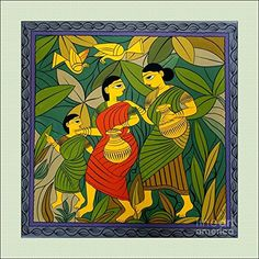 milking cow by jamini roy Pichwai Paintings, Indian Art Paintings, Phad Painting, Mural Painting, Madhubani Art, Madhubani Painting, Om Namah Shivaya, Bengali Art, Indian Folk Art