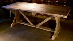 Heirloom Workshops Reclaimed Wood Tables, Oak Table, Custom Trestle Base, Breadboard Ends Trestle Table, Wood Tables, Oak Table, Dining Room Table, Farm Tables, Cottage Furniture, Wood Furniture, Country Family Room, Old Kitchen