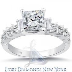 2.56 Carat G-SI1 Certified Princess Cut Diamond Engagement Ring 14K White Gold - Liori Exclusive Engagement Rings - Engagement - Lioridiamonds.com