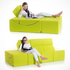 The Moon chaise longue is a simple yet extremely useful furnishing element designed for comfortable sitting, lying or use as a low table.The Moon element is composed of two separate parts that fit together tightly forming a block.When you want to stretch your legs, Moon can be transformed into an easy-chair simply by shifting the upper part in the position of a backrest.You can also combine two or more Moon elements and form different compositions, such as a sofa, a combination of a table…