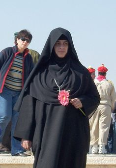 A Coptic nun near the Palestinian city of Jericho