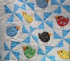 quilt.. love this idea with pinwheels and birds!