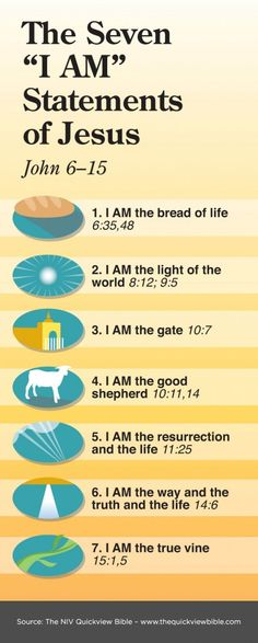 "The SEVEN ""I Am"" Statements of JESUS. Christian faith bible ""I AM"" scripture verses. Christian Faith, Christian Quotes, Bible Scriptures, Bible Quotes, Religion, I Am Statements, Life Quotes Love, Bible Lessons, Word Of God"