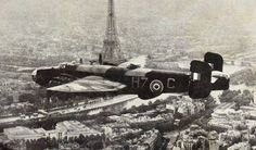 Handley Page Halifax of Free French 346 or 347 Squadrons of RAF over Paris late 1944.