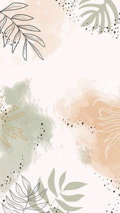 Obtain premium vector of Beige leafy watercolor cell phone wallpaper Whats Wallpaper, Wallpaper Free, Phone Wallpaper Images, Cute Patterns Wallpaper, Unique Wallpaper, Wallpaper For Your Phone, Iphone Background Wallpaper, Aesthetic Pastel Wallpaper, Watercolor Background