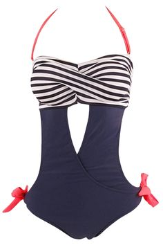 Color Block Striped Print Cut-out Front One Piece Swimsuit - OASAP.com