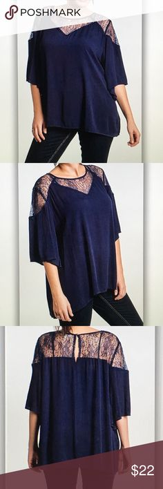 Blue navy lace short sleeve blouse Gorgeous and comfy! 30 in. Length Cotton/poly blend. Fits true to standard curvy sizes. XL- 10/12 1XL- 14/16 2XL- 18/20 3XL- 22/24 *Tiny silver spiked button at the top of blouse to hold back closed Final sale item! Only a few left! Umgee Tops Blouses