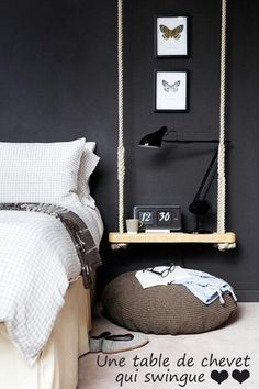 DIY swing as bedside table bedroom black walls Home Bedroom, Bedroom Decor, Bedroom Ideas, Bedroom Apartment, Bedroom Swing, Diy Bed Room Ideas, Bedroom Designs, Bedroom Wall, Bedroom Fun