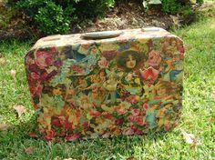 Victorian Decoupage Vintage Suitcase