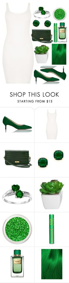 """White and green!"" by londero-danielle ❤ liked on Polyvore featuring L.K.Bennett, BLQ BASIQ, Buxton, Kate Spade, Tata Harper, Dolce&Gabbana, Lime Crime and whiteandgreen"