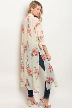 FLORAL KIMONO – WynnStyles Long Floral Kimono, Long Kimono, Kimono Fashion, Hijab Fashion, Women's Fashion, Fashion Trends, High Class Fashion, School Fashion, Shrug For Dresses