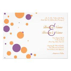 Orange and Purple Polka Dot Wedding Invitation -polka dots are kinda fun, hate the type though