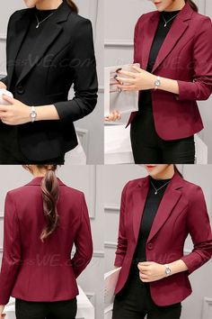 Short Notched Lapel One Button Women's Blazer - Woman Jackets and Blazers Blazer Outfits Casual, Stylish Work Outfits, Blazer Fashion, Blazer Jackets For Women, Blazers For Women, Women Blazer, Blazer Pattern, Indian Designer Suits, Blazer And Shorts