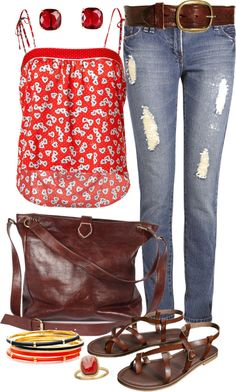 """""""Casual Red Spring"""" by angela-windsor on Polyvore"""