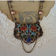 Vintage Cloisonne Belt Buckle Assemblage Necklace by Vintagearts