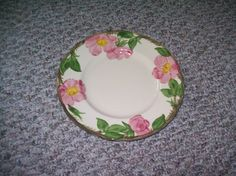 """6 FRANCISCAN DESERT ROSE 10 1/2"""" HAND DECORATED CLASSIC USA MADE DINNER PLATES"""