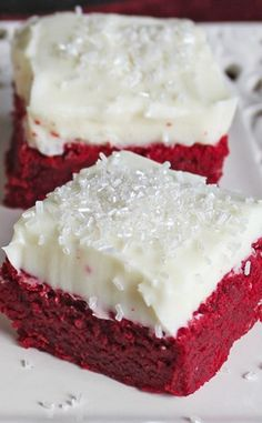Red Velvet Sugar Cookie Bars with Cream Cheese Frosting - Jamie Cooks It Up!