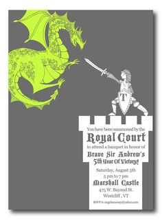 WHITE KNIGHT and DRAGON Medieval Themed Party Invitation 4x6 or 5x7