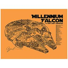 "Sci-Fi and Fantasy ""Star Wars Millennium Falcon Cutaway"" Design Art Poster - 11 x 17 inch Silk Screen Print - Orange Fizz - Black Ink Inked and Screened http://www.amazon.com/dp/B014Q4KI2A/ref=cm_sw_r_pi_dp_4OBFwb1EH8CPV"