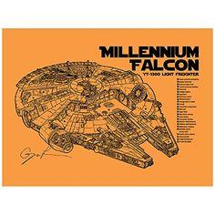 "Sci-Fi and Fantasy ""Star Wars Millennium Falcon Cutaway"" Design Art Poster - 11 x 17 inch Silk Screen Print - Orange Fizz - Black Ink Inked and Screened http://www.amazon.com/dp/B014Q4KI2A/ref=cm_sw_r_pi_dp_4OBFwb1EH8CPV"