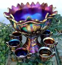 """NORTHWOOD""""c1911""""BLK AMETHYST""""CARNIVAL GLASS""""PEACOCK@FOUNTAIN""""LRG PUNCH BOWL SET My Glass, Glass Art, Blue Carnival Glass, Vintage Carnival, Vintage Circus, Punch Bowl Set, Fenton Glass, Vintage Glassware, Vintage Pyrex"""