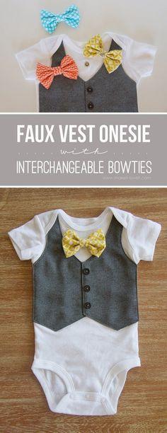 DIY Faux Vest & Bowtie Onsie - FREE Sewing Tutorial