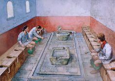 "Communal Latrine With up to 800 men living in the fort, good hygiene was essential to keep the healthy. Located in the southeast corner of the fort, this latrine (""latrina"") reveals the clean, communal attitude to hygiene in the Roman world. The latrine has a deep sewer, originally covered with a wooden floor and benches with holes to form multiple toilet seats. The sewer was flushed by rainwater brought from all over the fort in drains, and out via a culvert under the fort wall."