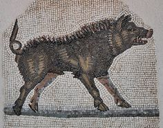 Wild boar from the Orpheus Mosaic from Saint-Romain-en-Gal, France. Roman, 2nd cent. CE