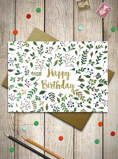 This Happy Birthday Card is decorated with a watercolor floral pattern. You can use for Birthday wishes or as a custom Greeting Card with your text.