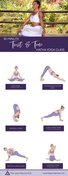 Hatha Yoga Flow: Twist Towards Your Best Self - The Journey Junkie Beginner Yoga Workout, Pilates Workout, Workouts, Yoga Sequence For Beginners, Yoga Routine For Beginners, Gentle Yoga Flow, Advanced Yoga, Learn Yoga, Yoga For Flexibility