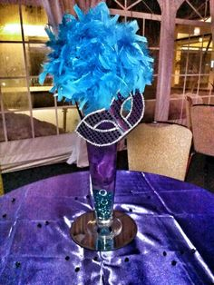 Masquerade Sweet 16 Centerpiece created by Events by Kesha - rental centerpieces $35 for setup
