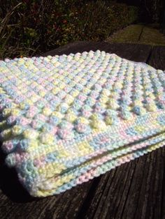 Crochet Baby Bubble Afghan Mixed Pastel Colored by penguinyarns. My favorite baby blanket by far. If you see me at a baby shower you can guarantee I brought this beauty as the gift.