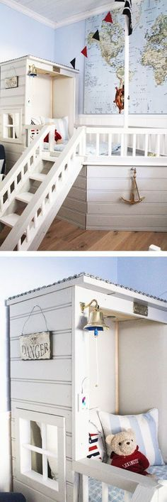 mommo design: nautical room, I might make the headboard a bit more like a boat Pirate Bedroom, Nautical Bedroom, Kids Bedroom, Baby Boy Rooms, Kids Rooms, Childrens Rooms, Bedroom Themes, Kid Spaces, Room Inspiration